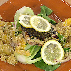 Lemon and Herb Crusted Drum with Wilted Bok Choy, Lemon, and Extra Virgin Olive Oil
