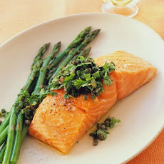 Slow Roasted Salmon with Caper-and-Herb Relish