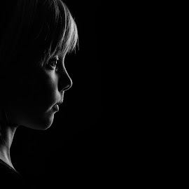 Daughter by Rune Myreng - Babies & Children Child Portraits ( girl, black and white, beautiful, low light, portrait,  )