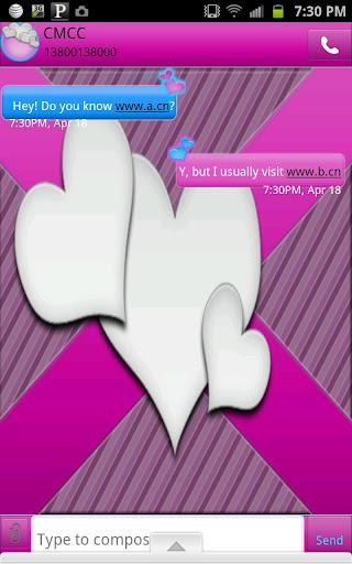 GO SMS - Hearts Fancy Purple