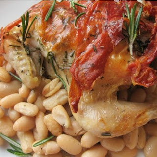 Cornish Game Hens with Prosciutto and Rosemary with White Beans