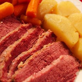 Corned Beef Dinner by Ian Sell - Food & Drink Meats & Cheeses ( dinner, corned beef, potatoes, plate, carrots, cooked )