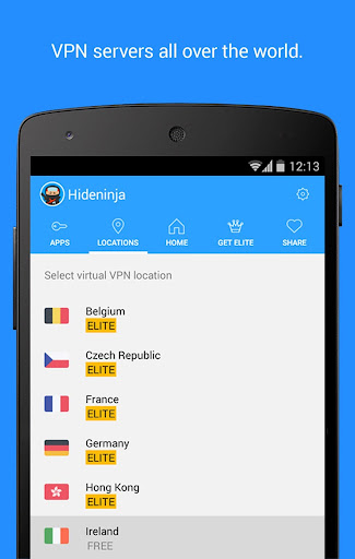 hideninja-vpn-for-android for android screenshot
