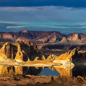 Lake Powell Late Afternoon by Jacob Padrul - Landscapes Sunsets & Sunrises ( water reflection, lake powell, desert, views, arizona, earth, landscapes, light, light and shadow )