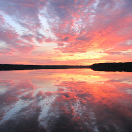 mirrored by Darius Morgendorfer - Landscapes Sunsets & Sunrises ( mirror, reflection, sunset, landscape, evening )