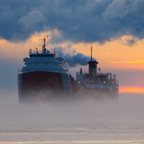 by Beaver Tripp - Transportation Boats ( 2013, fog, ore boat, lake superior, upper michigan, ore dock, marquette )