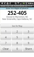 Screenshot of Instant Area Code