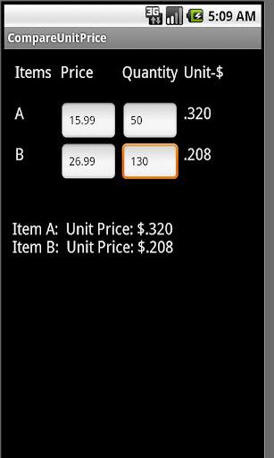 Compare Unit Price