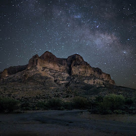Milky Way at Picket Post by Christina Heinle - Landscapes Mountains & Hills ( picket post, mountain, night photography, flashlight painting, astrophotography, cactus )
