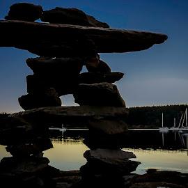 Dawn Inukshuk by Rob Germain - Buildings & Architecture Statues & Monuments ( inuksuk, inukshuk, blue hour, hornby, bc, island,  )