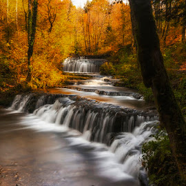 Autumn falls by Romain Bruot - Landscapes Forests ( cascades du hérisson, jura, waterscape, autumn, waterfall, forest, france )