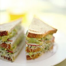 Avocado and Sprout Club Sandwich