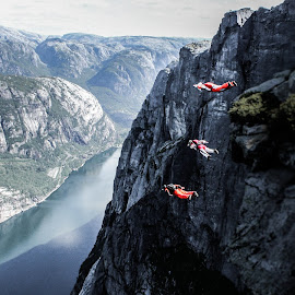 Into the air by Tom Chirossel - Sports & Fitness Other Sports ( base jump, base jumping, norway )