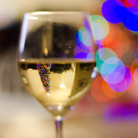 Time to relax by Steve Wieseler - Abstract Light Painting ( wine, glass, inverted image, christmas tree, bokeh )