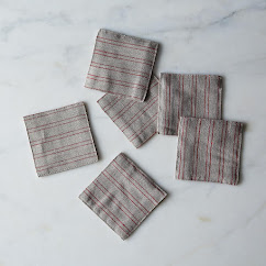 Natural Red Stripe Fog Linen Coasters, Set of 6