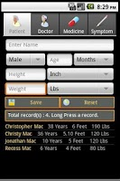 Screenshot of Health Record Book Lite
