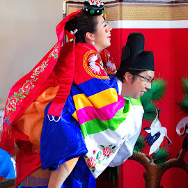 korean tradition-the wife carry by Christopher Wu - People Couples (  )