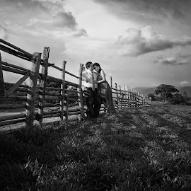 Farm Love by Tim Chong - Wedding Bride & Groom ( b&w, people, couples )