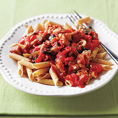 Whole-Wheat Penne with Sausage, Eggplant and Olives