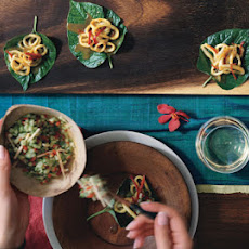 Betel Leaf Wraps with Curried Squid and Cucumber Relish