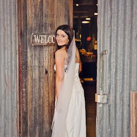 'Welcome' by Alan Evans - Wedding Bride ( wedding photography, doorway, wagga wagga, wedding day, wedding, wedding veil, aj photography, wedding dress, wagga wedding photographer, welcome, bride, marriage,  )