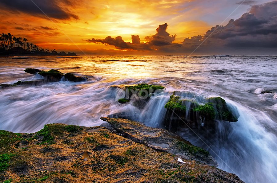 Silk Spun Lines by Hendri Suhandi - Landscapes Waterscapes ( bali, mood, flow, beach, landscape, manyar, sunset, wave, tide, sunrise, motion, stones, rocks )