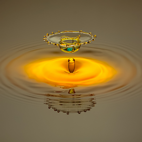 Golden Chalice and the Blue Saphire by Ganjar Rahayu - Abstract Water Drops & Splashes ( waterdrop )