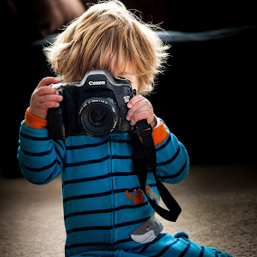 Little Photog by Mike DeMicco - Babies & Children Children Candids ( child, camera, photographer, little, photog, cute, boy )