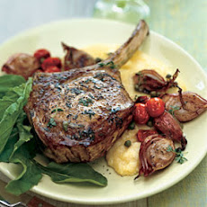 Veal Chops with Roasted Shallots, Arugula, and Soft Polenta