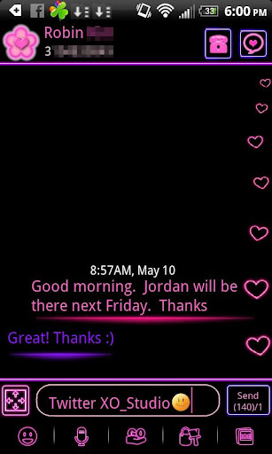 Pink Neon Heart Theme 4 GO SMS