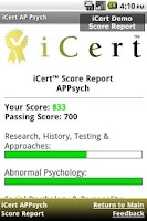 Screenshot of iCert AP Psych Practice Exam