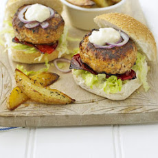 Pork Burgers With Herby Chips