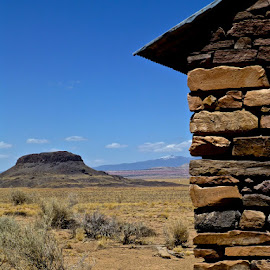 New Mexico by Hunter Ten Broeck - Landscapes Deserts ( ranch, desert, volcanic plug, mount taylor, new mexico )
