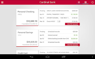 Screenshot of Cardinal Bank