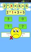Screenshot of math equations game