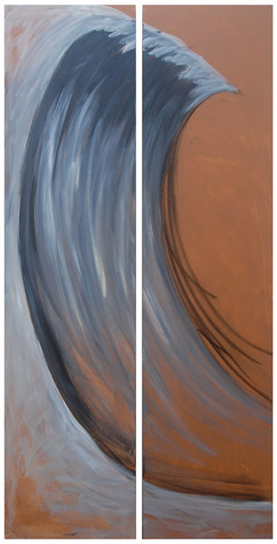 Wave Diptych <br> Acrylic paint, pastel, charcoal on canvas <br> 40 x 18 in