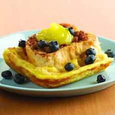 Lemon Cream Stuffed French Toast with Streusel Topper and Fresh Blueberries