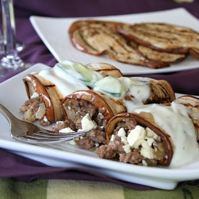 Grilled Eggplant Lamb Rolls with Tzatziki