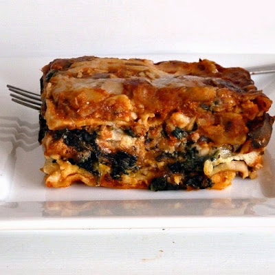 Vegetarian Spinach and Mushroom Lasagna AdaptedfromSimply Recipes