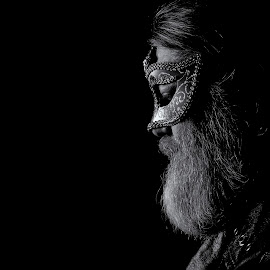 Pensive by Don Durante - People Portraits of Men ( black background, b&w, black and white, beard, mask, men, portrait, slef, profile )