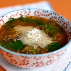 Spinach–Lentil Soup with Saffron and Manchego