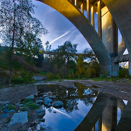 Under the Bridge by Patrick Flood - Buildings & Architecture Bridges & Suspended Structures ( canon, pasadena, photosbyflood, sky, california, 134 freeway, arroyo, reflections, bridge, landscape )