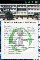 Screenshot of PF Office Address – EPFO India