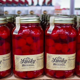 Moonshine by Danielle Benbeneck - Food & Drink Alcohol & Drinks ( abstract, red, pattern, cherries, jars )