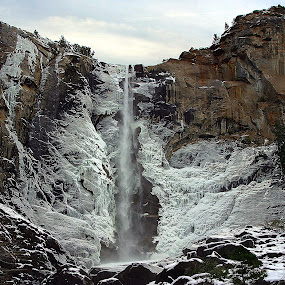 Yosemite Falls in Winter by Ken Miller - Landscapes Waterscapes ( upper yosemite falls, winter, yosemite, ice, california, waterfall, national parks,  )