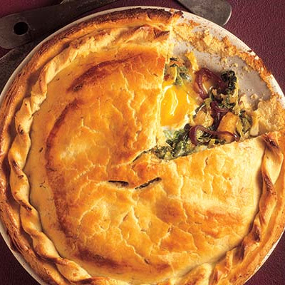 Fresh Savoy, red onion & egg pie