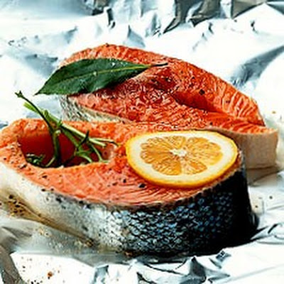 Salmon Steaks with Avocado and Creme Fraiche Sauce