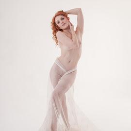 Ivory Flame by Peter McLean - Nudes & Boudoir Artistic Nude ( high key, red hair, long hair, artistic, mermaid )