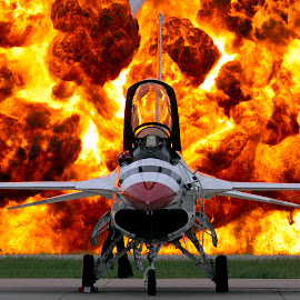 Wall of Fire by Patrick Barron - Transportation Airplanes ( pyro, f-16, wall of fire, fire, thunderbirds,  )
