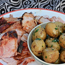 Spiced Sour Cherry-Glazed Ham With Parsley Potatoes